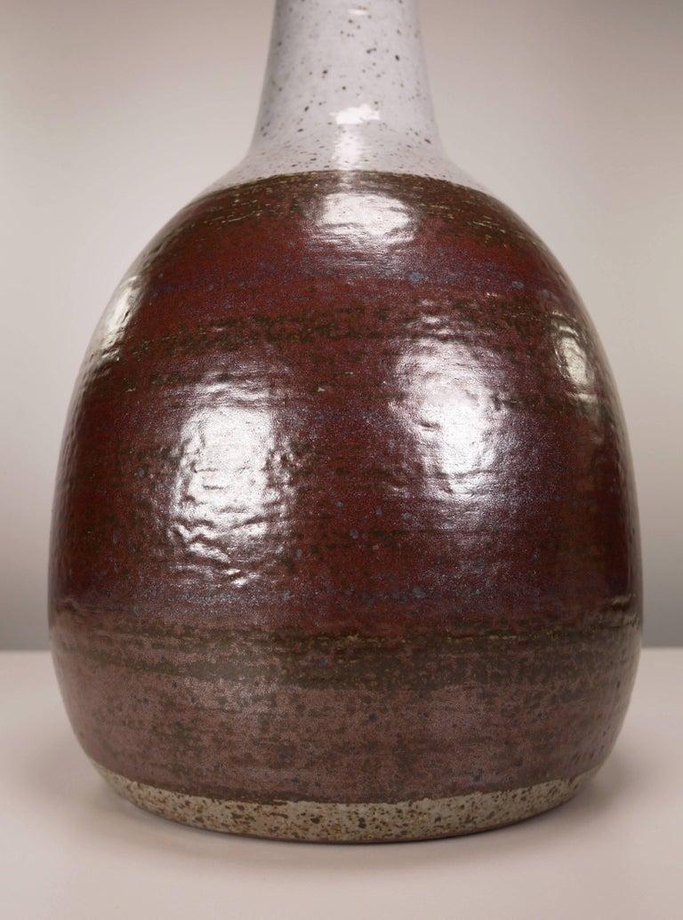Mid-20th Century Per Linnemann-Schmidt for Palshus Danish Modern Burgundy Stoneware Lamp, 1950s For Sale
