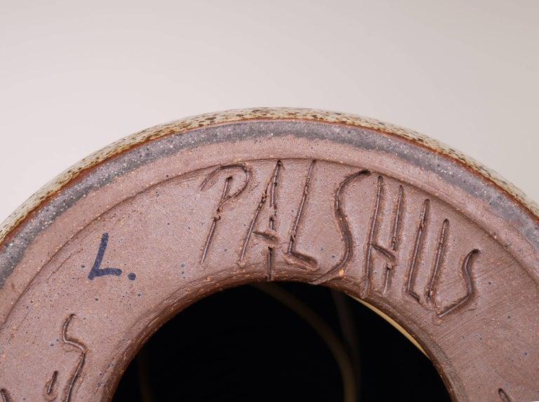 Per Linnemann-Schmidt for Palshus Danish Modern Burgundy Stoneware Lamp, 1950s For Sale 2