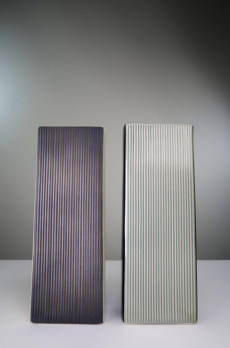 Mid-Century Modern 1958 Holm Sorensen for Soholm White, Grey, Black, Green Ceramic Relief Vases For Sale