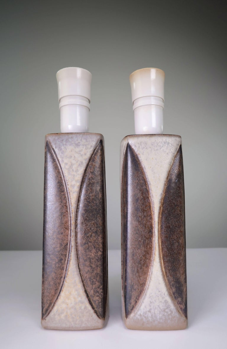 Danish Marianne Starck for Michael Andersen Sculptural Set of Lamps and Vase, 1950s For Sale