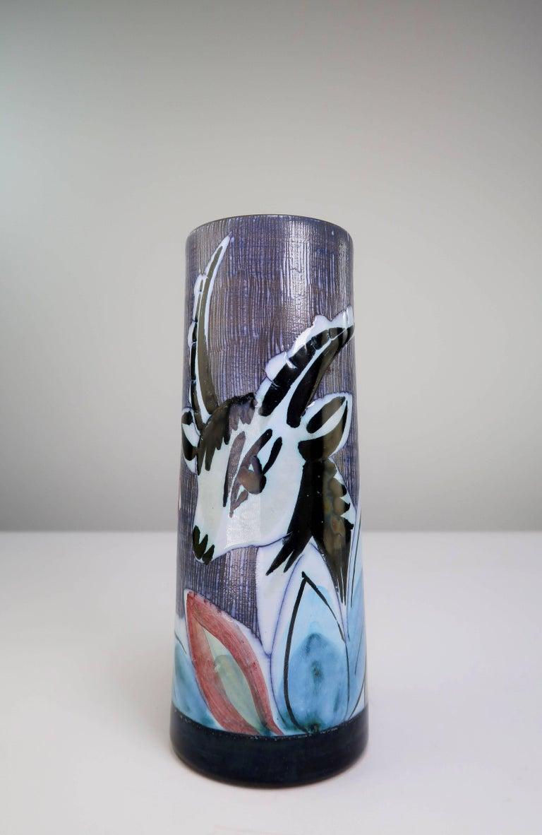 Glazed Swedish Nila Midcentury Modern 1960s Handmade Ceramic Gazelle Vase For Sale