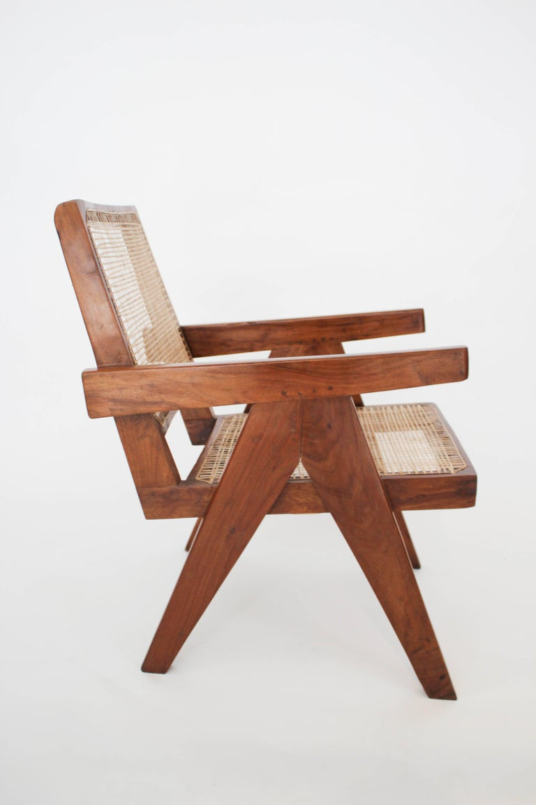 Indian Easy Armchairs by Pierre Jeanneret, Set of Two, circa 1950s For Sale