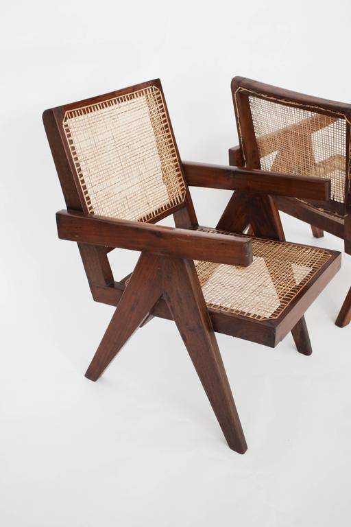 Mid-20th Century Easy Armchairs by Pierre Jeanneret, Set of Two, circa 1950s For Sale