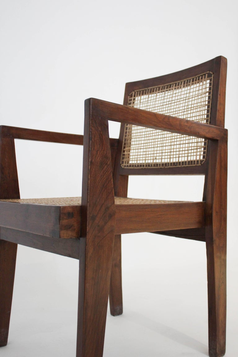 Set of four cane chairs by Pierre Jeanneret for Chandigarh, circa 1950s. All matching.