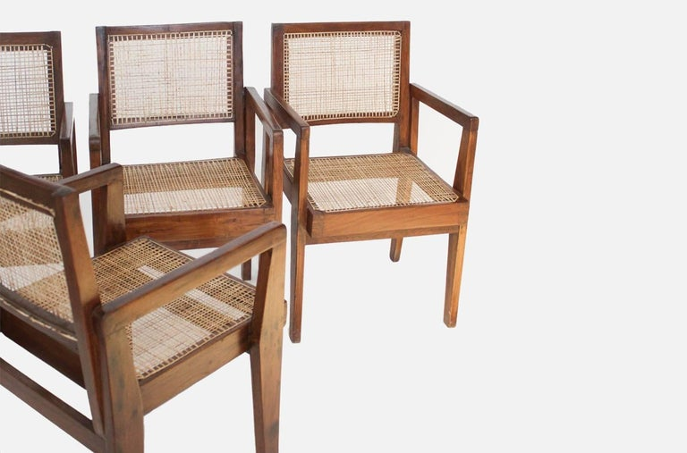 Modern Cane Chairs by Pierre Jeanneret, circa 1950s, Set of Four For Sale