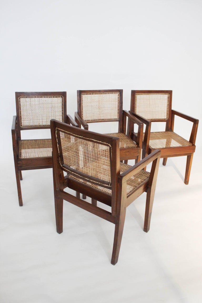 Mid-20th Century Cane Chairs by Pierre Jeanneret, circa 1950s, Set of Four For Sale
