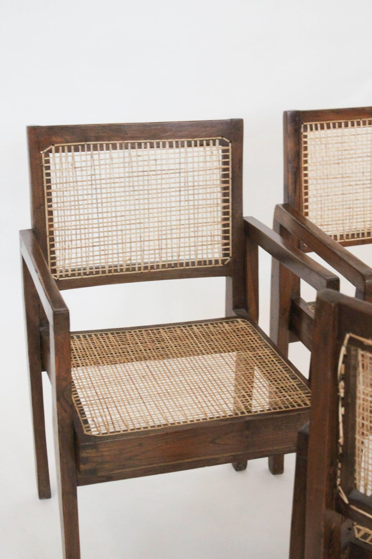 Cane Chairs by Pierre Jeanneret, circa 1950s, Set of Four For Sale 1