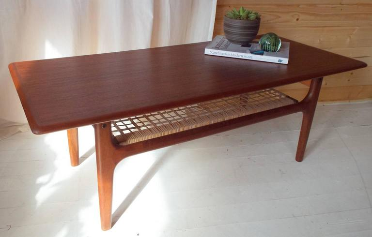 Danish Coffee Table By Trioh M Bler With Teak Frame And Cane Undershelf For Sale At 1stdibs