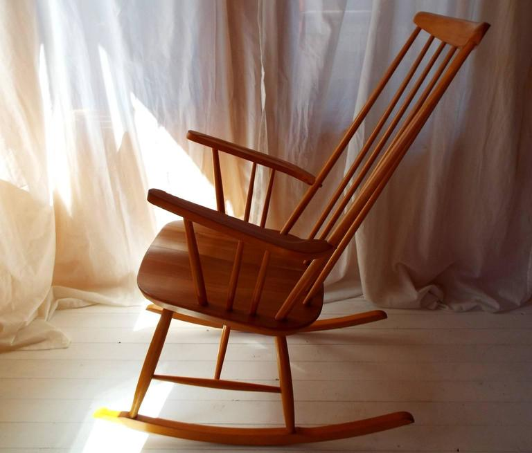 Midcentury Rocking Chair by Austrian Architect Roland Rainer with Beech frame 3