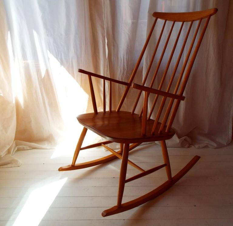 Midcentury Rocking Chair by Austrian Architect Roland Rainer with Beech frame 2
