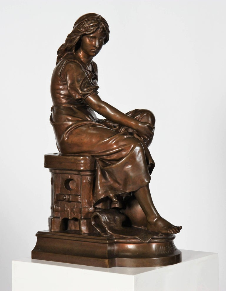 Representing a seated peasant woman. Terrace bearing the signature of Aizelin and Barbedienne, foundry in Paris.  Eugène-Antoine Aizelin, born July 8, 1821 in Paris and died March 4, 1902, is a French sculptor and statuary. Eugène Aizelin is the