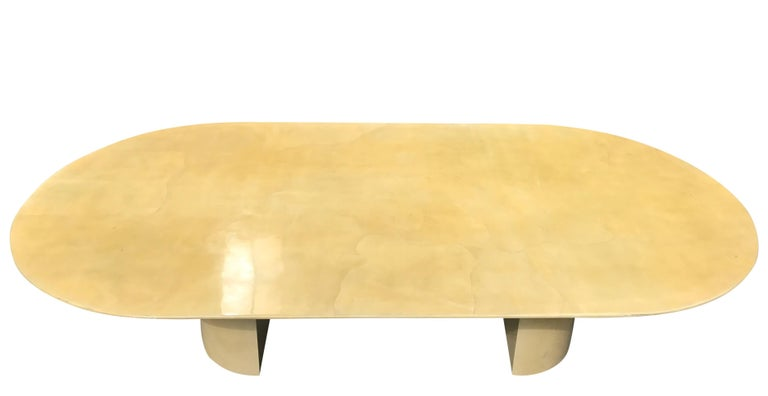 Oval lacquered goatskin table by Karl Springer. Excellent large custom example. Would work well as a dining table, conference table or library table.