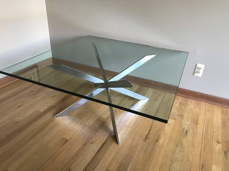 A Leon Rosen for Pace Collection chrome X-base cocktail table with thick 3/4