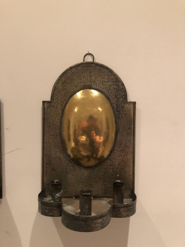 American Colonial Pair of Early American Tin and Brass Sconces For Sale