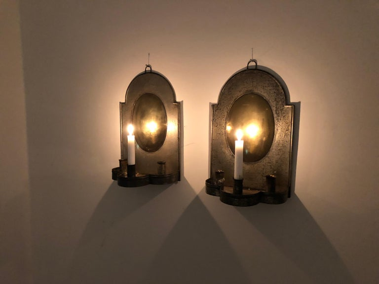 19th Century Pair of Early American Tin and Brass Sconces For Sale
