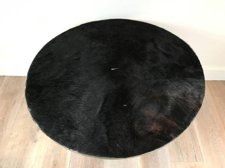 Argentine Large Cowhide and Silvered Metal Tray For Sale