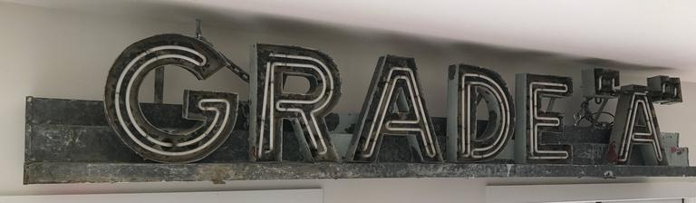 """Massive and rare vintage Art Deco Grade """"A"""" Neon Advertising sign. Heavy steel construction. Currently not wired for electric with a few minor breaks to one neon."""