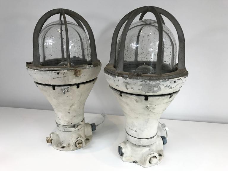 American Pair of Vintage Blast Proof Lamps For Sale