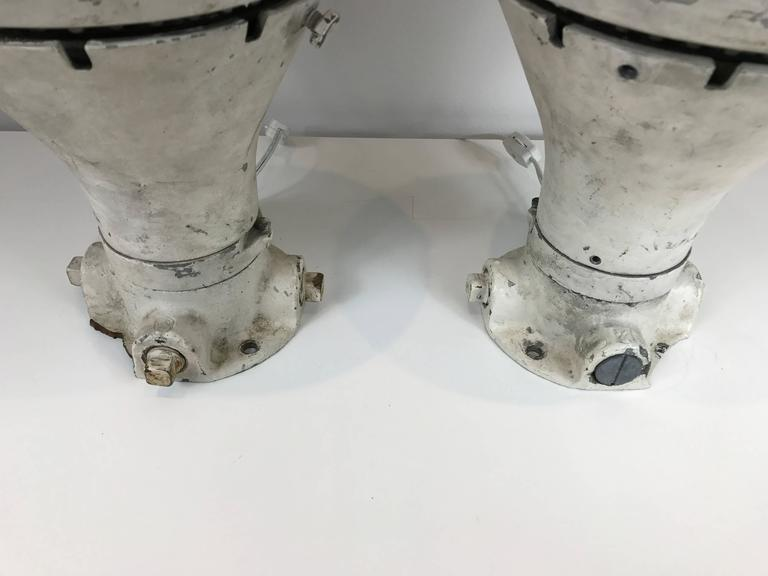 Pair of Vintage Blast Proof Lamps In Distressed Condition For Sale In Stockton, NJ