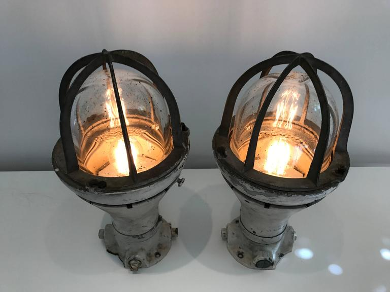 Pair of Vintage Blast Proof Lamps For Sale 1