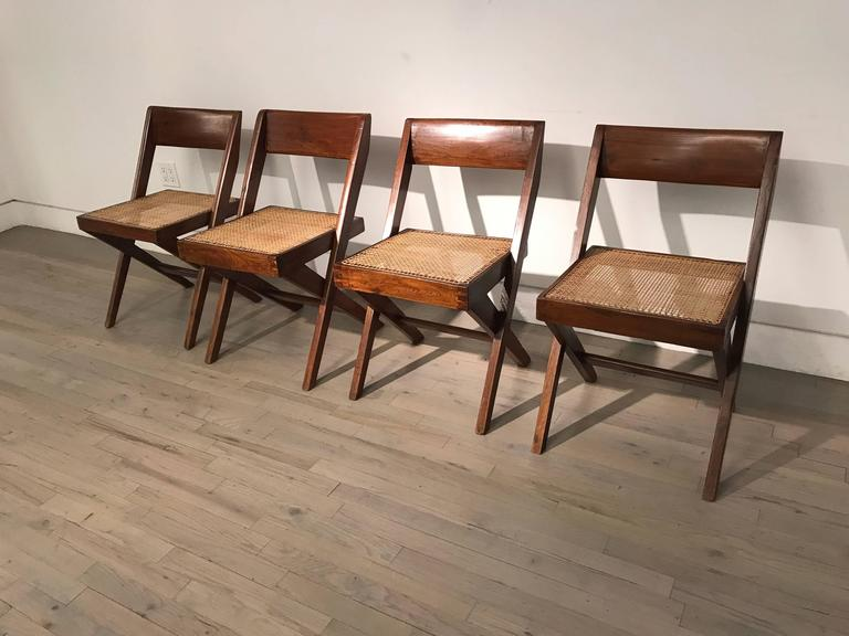 Indian Set of Four Library Chairs by Pierre Jeanneret For Sale