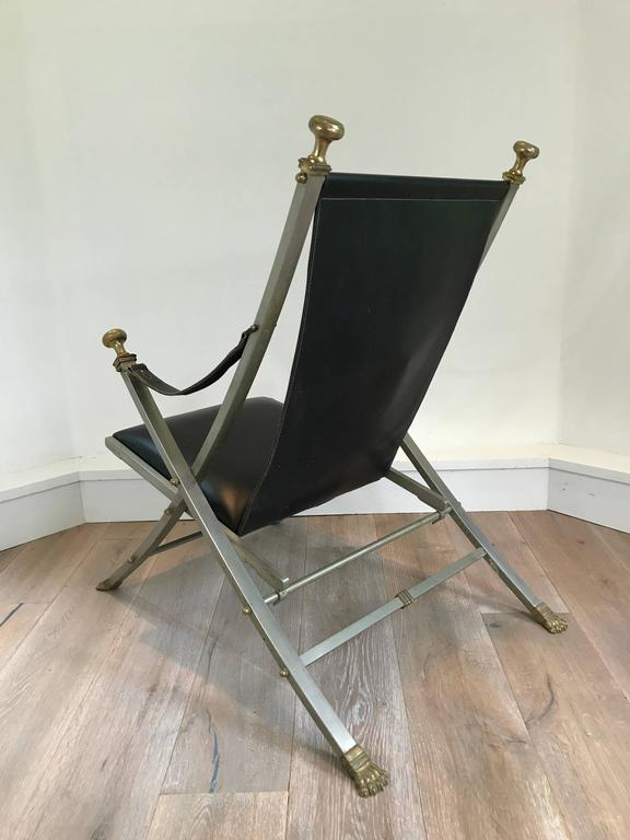 Pair of Maison Jansen Campaign Armchairs In Excellent Condition For Sale In Stockton, NJ