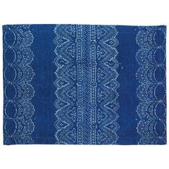 Indigo and White Hand Printed Linen Placemats, Set of Four