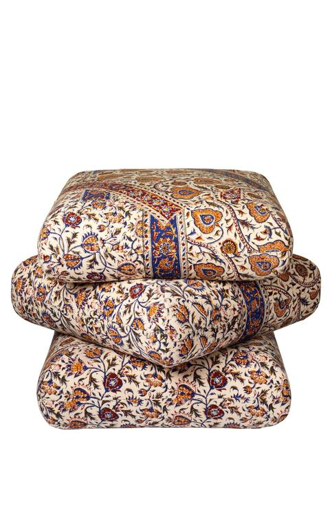 Cabana Ottoman Pouf in One of a Kind Ghalamkar Persian Textile 2