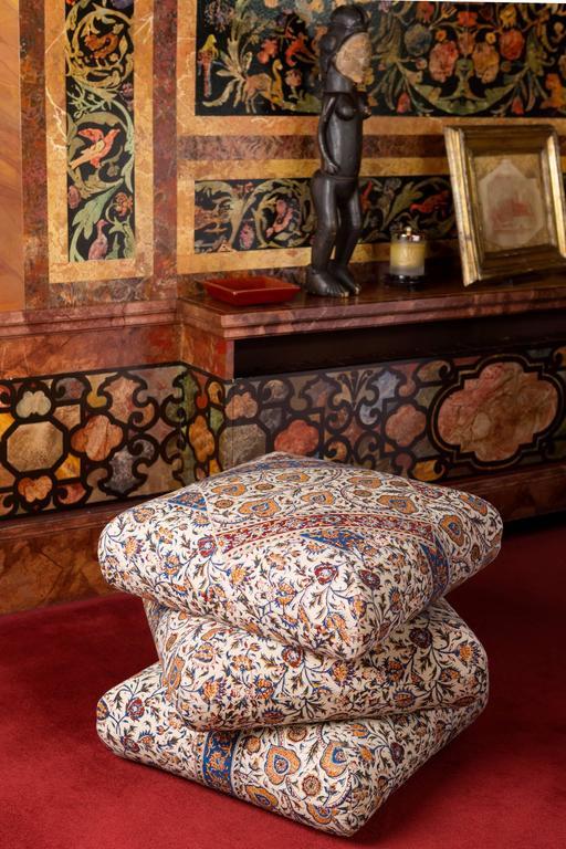 Cabana Ottoman Pouf in One of a Kind Ghalamkar Persian Textile 3