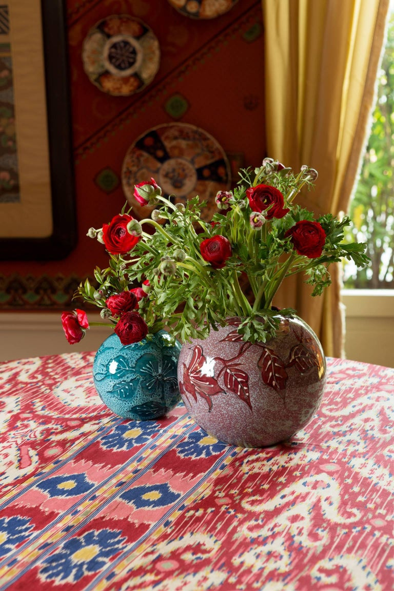 Medium Red Hand-Painted Floral Vase 4