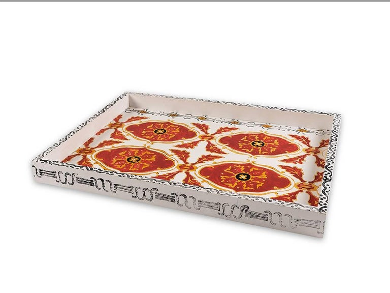Hand-Painted White Wooden Tray 3
