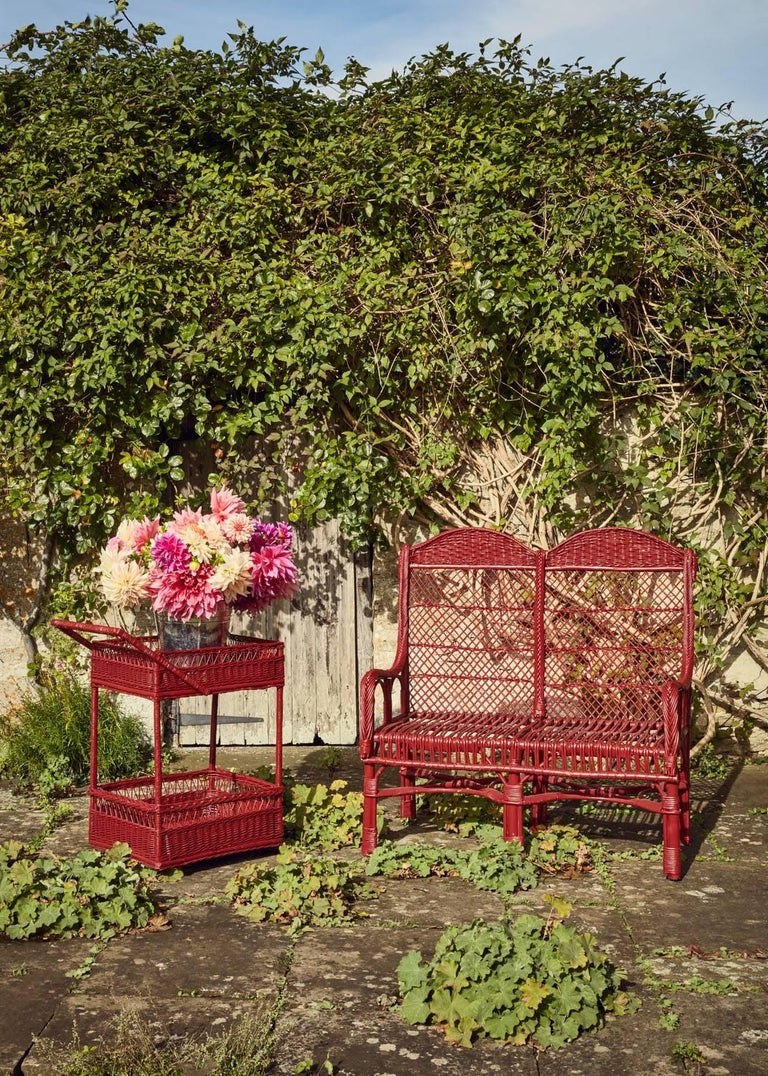 Handwoven Two-Seat Wicker Chair in Balmoral Red 3
