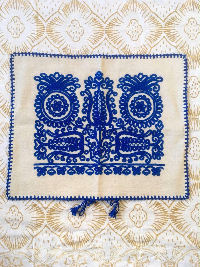 Transylvanian Embroidered Blue Cushion 2