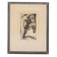 "Stanley Hayter Print, ""Kneeling Figure"""