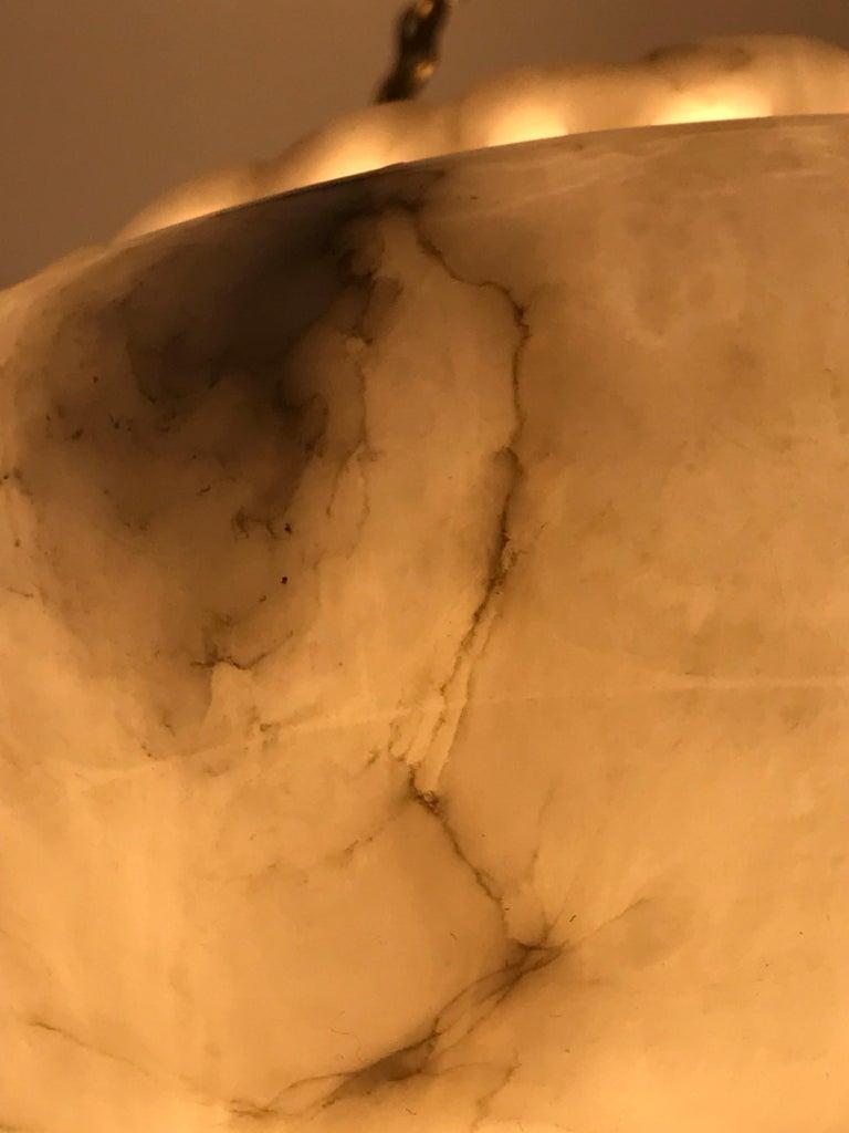 Swedish Art Nouveau Carved Alabaster Pendant Lamp For Sale 1