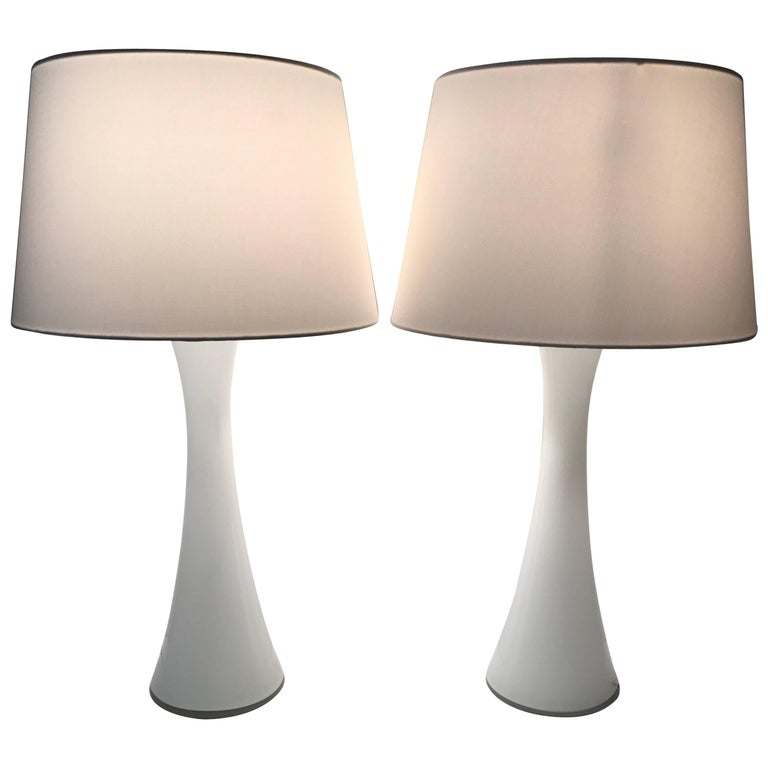 Pair of Swedish Glass Table Lamps Designed by Bergboms and Made by Holmegaard