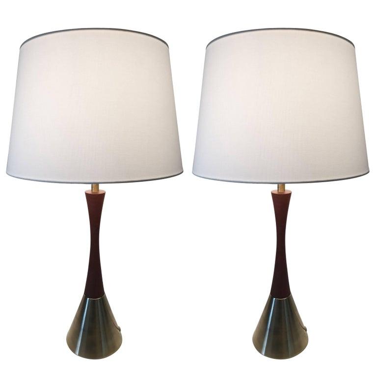 Pair of Rare Large Swedish Bergboms B-06 Teak and Brass Table Lamp, 1955