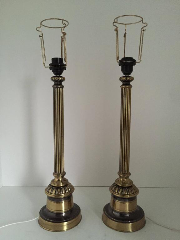 1935 Swedish Empire style pair of large brass and metal table lamps by Bergboms. A beautiful pair of brass and steel table lamps in the Swedish Empire style. They are very large and display very nicely, the total height including the shade is 80 cm