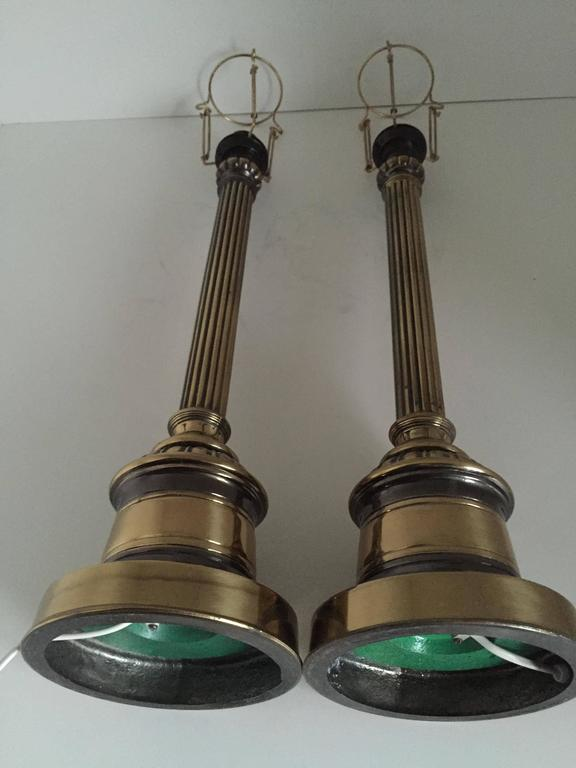 1935 Swedish Empire Style Pair of Large Brass and Metal Table Lamps by Bergboms For Sale 2