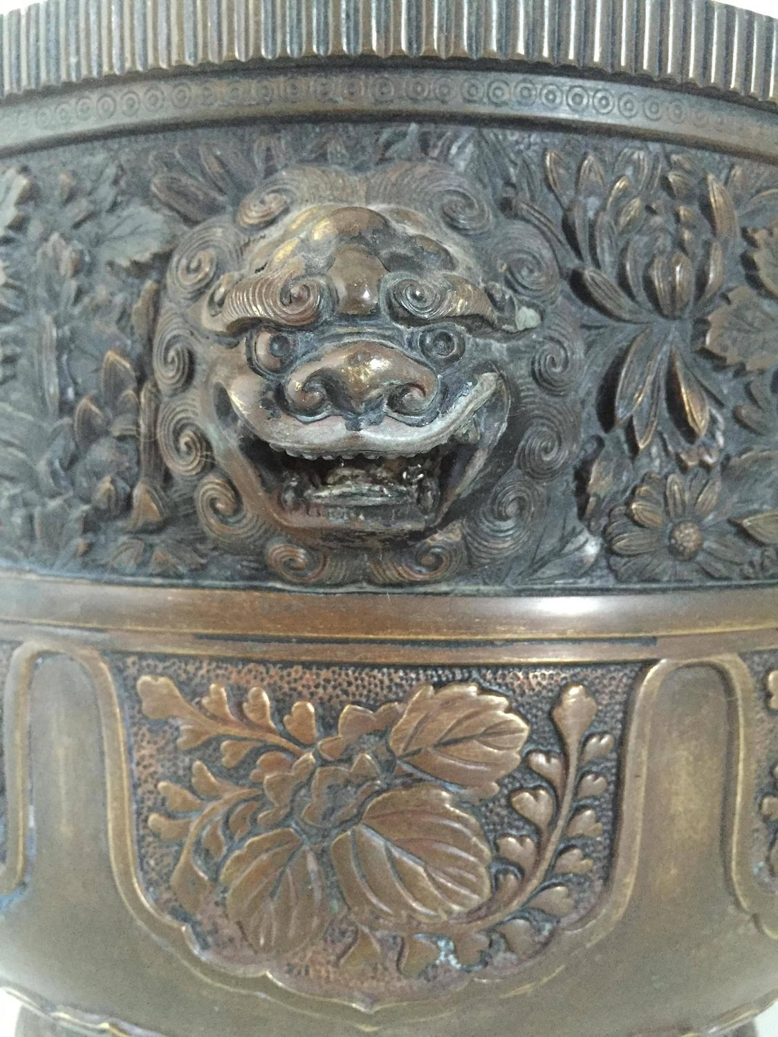 19th Century Large Chinese Bronze Jardinière or Planter at 1stdibs