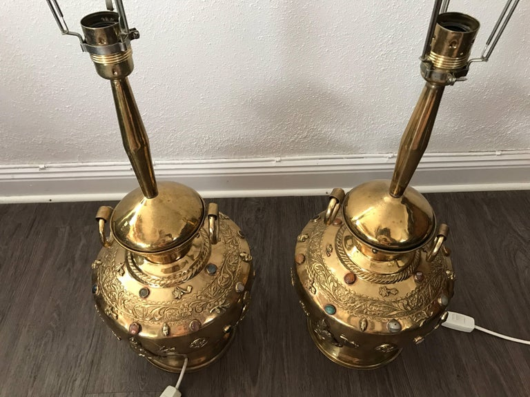 Pair of Large Asian Buddha Brass Precious Stones Decorated Table Lamps For Sale 1