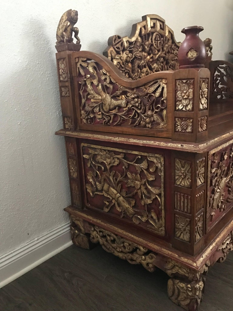Late 19th century chinese carved gilt wooden sofa for sale for Oriental wood carved furniture