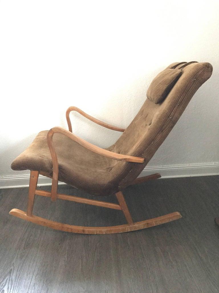 1950 Swedish Birchwood Rocking Chair In Original Condition