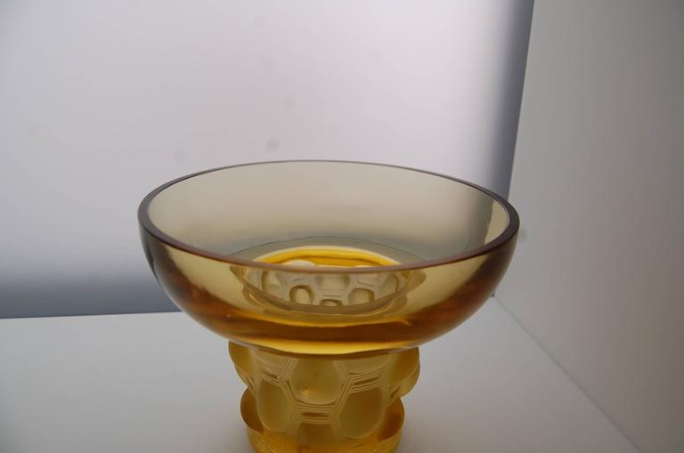 Early 20th Century Amber Yellow Glass Vase 'Beautreillis' Designed by René Lalique For Sale