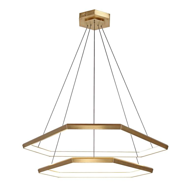 Brass Contemporary Hexagon Tiered Geometric Modern Chandelier ...
