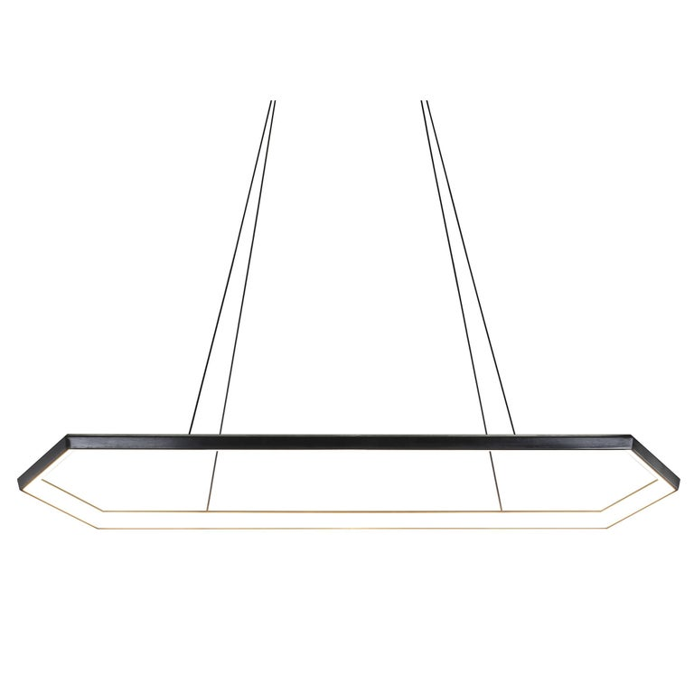 KRUOS LX58 - Black Linear Hexagon Modern LED Chandelier Light Fixture - IN STOCK