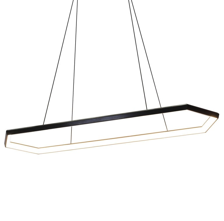 American KRUOS LX58 - Black Linear Hexagon Modern LED Chandelier Light Fixture  For Sale