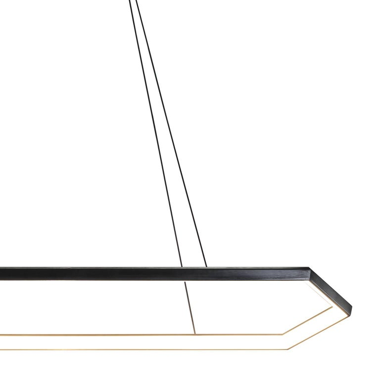 Welded KRUOS LX58 - Black Linear Hexagon Modern LED Chandelier Light Fixture  For Sale