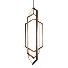 ORBIS VX58 - Nickel Hexagon Geometric Modern LED Chandelier Light Fixture
