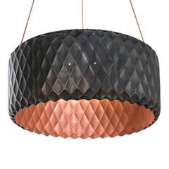 Modern Ornate Hand-Pressed Copper Drum Chandelier, Hira